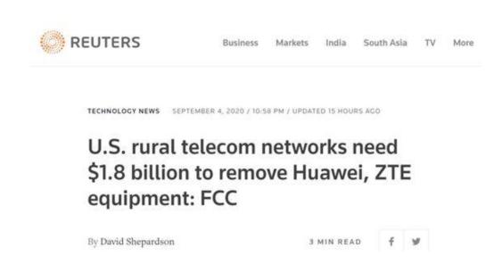 开始反噬!FCC:移除华为中兴设备成本18亿美元