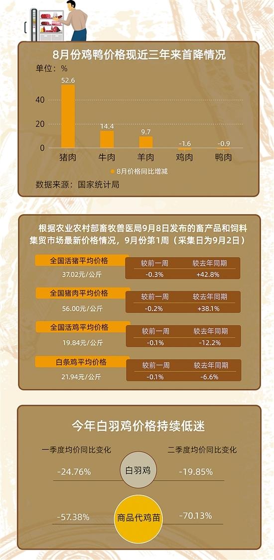 """猪肉价格还在高位""""站岗"""" 鸡肉同比降12.2%超市""""福利鸡""""上线"""
